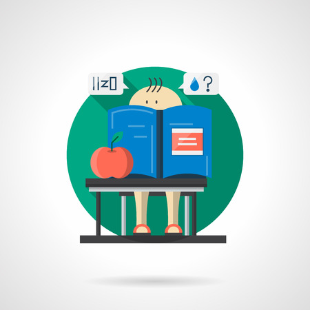 schoolchild: Little schoolchild with blue book and red apple at a school lesson. Chemistry for children. Round single detailed flat color vector icon. Web design element for business, site, mobile app. Illustration