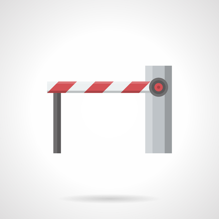 movement control: Traffic control elements. Automatic barrier with closed long boom on a rack. Restriction movement of vehicles and pedestrians. Flat color style vector icon.