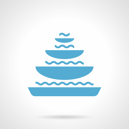 garden fountain: Monochrome silhouette of three-bowl pyramidal fountain. City or private park and garden landscaping. Sign for famous landmark for tourists. Symbolic blue glyph style vector icon. Illustration