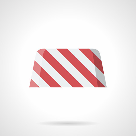 concrete block: White and red striped concrete block for road enclosure. Traffic restriction or tempore forbidden. Road works, sites, bridge construction. Flat color style vector icon.