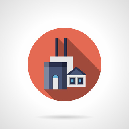 manufacturing plant: Manufacturing plant of construction materials. Architecture industry symbol. Factories and industrial facilities. Round flat color style vector icon.