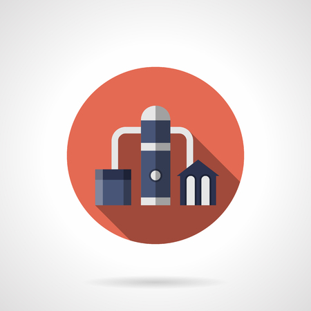 petrochemical: Petrochemical plant symbol. Refinery, oil distillation factory and industrial facilities. Power and energy industry. Round flat color style vector icon.