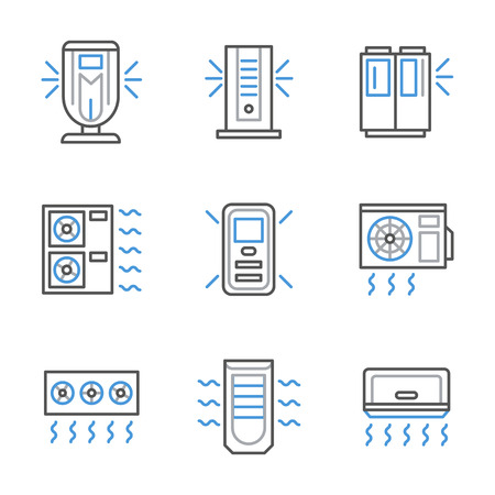 technics: Equipment and appliances of air conditioning and ventilation systems. Household, office and industrial technics. Set of black and blue flat line style vector icons.