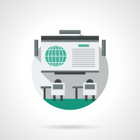 workshop seminar: Space for workshop and online conference. Web seminar or lecture. Distance education, training. Round single detailed flat color vector icon. Web design element for business, site, mobile app. Illustration