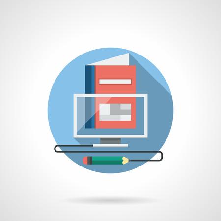 Concept illustratie met transparante computermonitor, rode boek en potlood met draad. Onderwijs op afstand, virtuele school en lessen, toegankelijke training online. Round gedetailleerde vector icon egale kleur Stock Illustratie