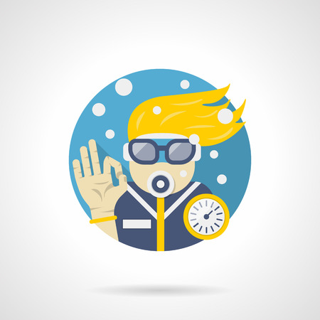 underwater sport: Summer activity leisure. Scuba diving and snorkeling. Diver with outfit underwater, sea extreme sport. Round detailed flat color style vector icon.