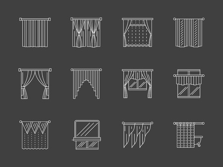 window shades: Collection of different types of curtains, blinds, drapes, shades for window treatments, doorway, theater, home or hotel interior. Set of white flat line style vector icons on black background. Illustration