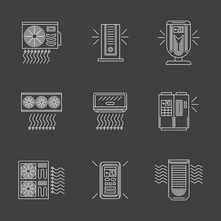 acclimatization: Various types of air conditioning equipment. Portable, modern, domestic and industrial conditioners. Appliances for home or office. Set of white flat line style vector icons on black background.