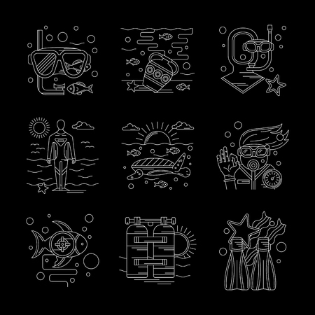 aqualung: Leisure with discovery of underwater life. Scuba diving and snorkeling equipment - mask, fins, aqualung. Set of detailed flat white line vector icons on black background. Web design elements. Illustration