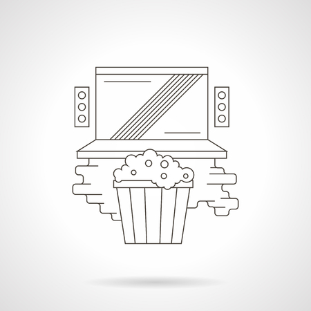 home entertainment: Laptop with audio speakers and popcorn. Watching online movie at home. Cinema entertainment. Media applications. Detailed flat line vector icon. Web design elements for business, site, mobile app. Illustration