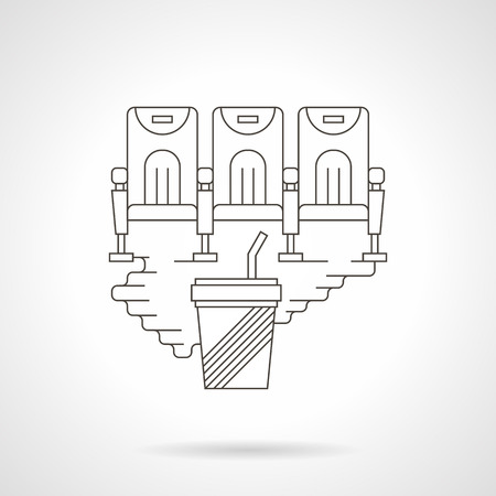 cinema seats: Cinema hall symbol. Rows of three cinema seats and cup of soda. Cinema festival, movie premiere, entertainment sign. Detailed flat line vector icon. Web design elements for business, site, mobile app.