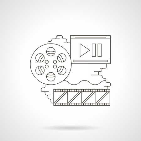 film production: Film production theme. Cinema reel, filmstrip and abstract screen with play button. Media entertainment concept. Detailed flat line vector icon. Web design element for business, site, mobile app.