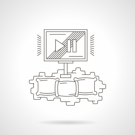 Cozy home movie theater with three pillows and monitor. Watching films online. Contemporary cinema technology. Detailed flat line vector icon. Web design element for business, site, mobile app.