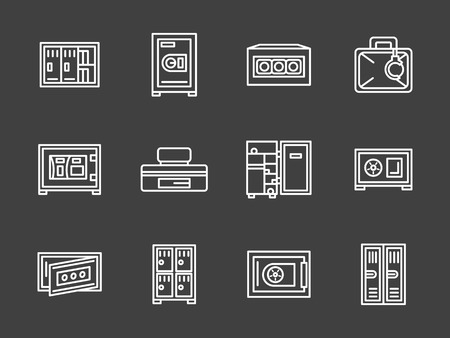 gym room: Closed metal lockers, cabinets and safe boxes. Equipment and furniture for storage room, wardrobe, gym, school and others. Set of simple white line style vector icons on black background.