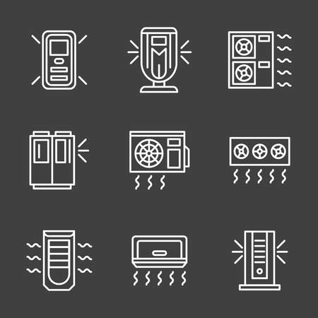 power supply unit: Air temperature regulation equipment. Air conditioning appliances different types for office, home, store and industrial. Set of simple white line style vector icons on black background. Illustration