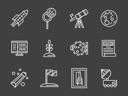 space program: Flight to Mars or Moon. Space colonization program. Vehicles, cosmic food, rover, cultivation of plants. Human adventure to planets. Set of simple white line style vector icons on black background.