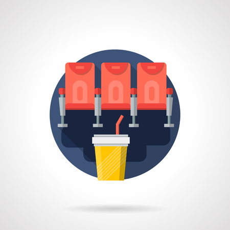 premiere: Row with three red chairs for cinema hall and soda in yellow cup. Film premiere, movie events and entertainment concept. Round flat color style vector icon. Web design element