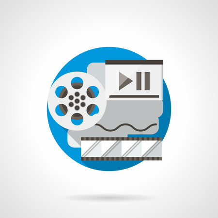 playback: Reel of film, filmstrip and player. Multimedia technology concept. Cinema production and playback, virtual movie gallery. Round detailed flat color style vector icon.