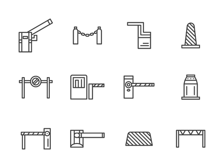 Steel and plastic barriers. Different types of barricades and stoppers. Roadblock, rope barrier, cones and other elements for traffic control. Set of simple black line style icons on white.