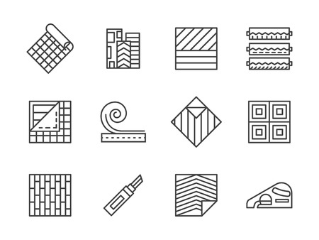 flooring: Building materials theme. Samples of linoleum flooring, floor covering services. Construction and renovation. Set of simple black line style vector icons on white.