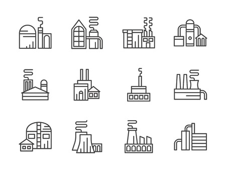 energy production: Industrial factories, plants and warehouse. Manufacturing or refinery buildings and facilities, energy production. Set of simple black line style vector icons on white. Illustration