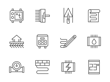 floor heating: Heated floor service symbols. Floor heating, warm climate for home, offices and other spaces in winter. Set of simple black line style vector icons on white.