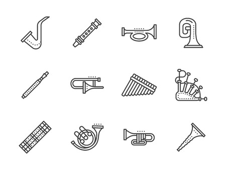 cornet: Wood, brass or keyboards wind instruments. Musical instrument for orchestras, chamber ensembles. Set of simple black line style vector icons on white. Illustration
