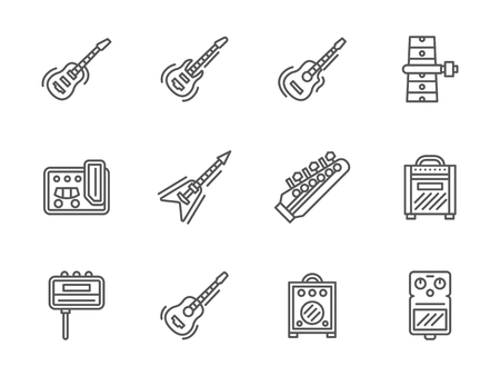 stringed: Electric and acoustic guitars and music equipment. Stringed musical instruments. Symbols for band, concert services, musical store. Set of simple black line style vector icons on white.
