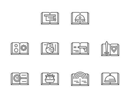 adventure story: Different genres of book, stories. Symbols for library, book stored, tale collections and other. Set of simple black line style vector icons on white.