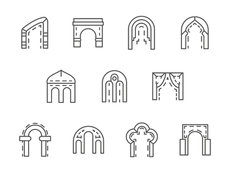 arched: Different types and shapes of arch. Arched construction for entrance facade design, gateway, monuments. Set of simple black line style vector icons on white. Illustration