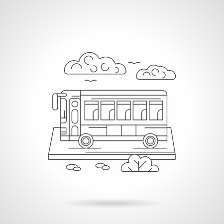 coach bus: Abstract illustration of touristic or coach bus and clouds. Passenger special and long-distance transportation. Types of transport theme. Detailed flat line vector icon. Web design element.
