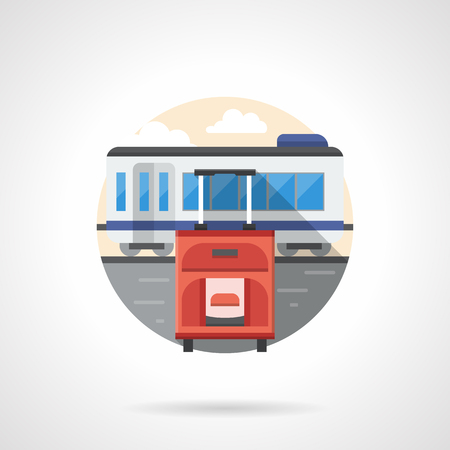 baggage train: Red baggage on a rail station. Waiting for a train. Travel and journey, summer vacation, business trip. Round detailed flat color style vector icon.