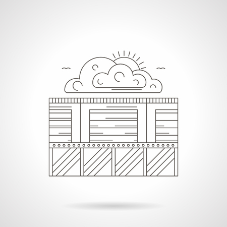 facilities: Abstract illustration of security of storage facilities. Commercial objects or garages with safety fence and clouds with sun. Detailed flat line vector icon. Web design element.