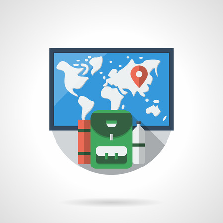 karemat: World map with red pin and green backpack with karemat and bottle. Time for travel and adventure. Round detailed flat color style vector icon.