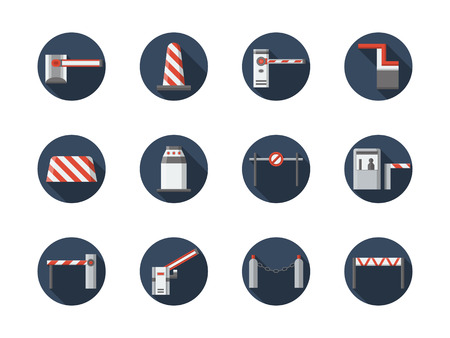 road closed: Road closed equipment and signs. Striped barriers, plastic and concrete blocks, stoppers and other samples of traffic control objects. Round flat color style vector icons collection.