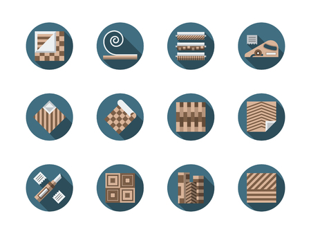 linoleum: Materials and equipment for repair and construction. Linoleum flooring - samples, installing and other services. Round flat color style vector icons collection.