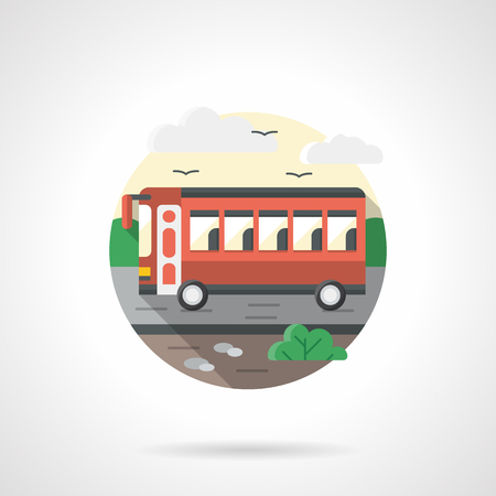 intercity: A side view of a red bus on road. Intercity and city transport, passenger transportation concept. Round detailed flat color style vector icon.