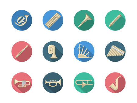 Various classical orchestral musical brass and woodwind instruments. Saxophone, tuba, piccolo and samples of some traditional national musical instruments. Round flat color style vector icons set.
