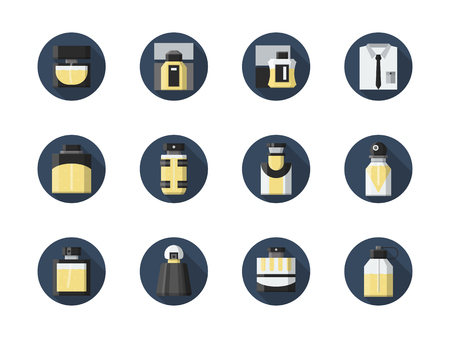 perfume atomizer: Perfume and fragrances for man. Different shapes of bottles with liquid. Male accessories and cosmetics. Round flat color style vector icons collection. Illustration