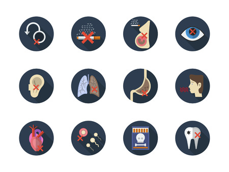 harm: Danger consequences of smoking. Harmful impact of tobacco smoke on a body. Lung cancer, harm to pregnancy, hearts problem and other serious diseases. Round flat color style vector icons collection. Illustration