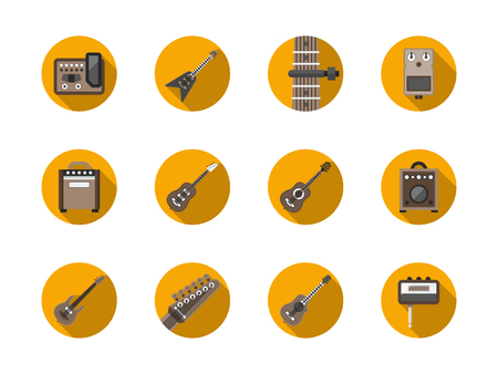 humbucker: Acoustic, bass and electric guitars samples. Assortment of guitar stuff equipment. Musical instruments theme. Round flat color style vector icons collection.