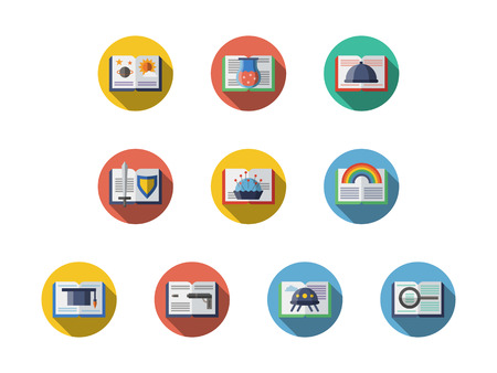 literary: Samples of books with various literary genres. Literature, education and reading leisure. Symbols for library and book stores. Round flat color style vector icons collection. Illustration