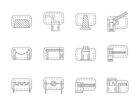 traffic control: Different types of road block equipment for traffic control. Barriers, stoppers, fences and cones. Service for repair works, construction sites, checkpoints. Flat line style vector icons collection.