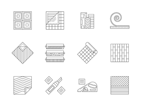 flooring: Construction materials theme. Tools for home improvement, flooring service, linoleum samples and textures. Flat line style vector icons collection. Illustration