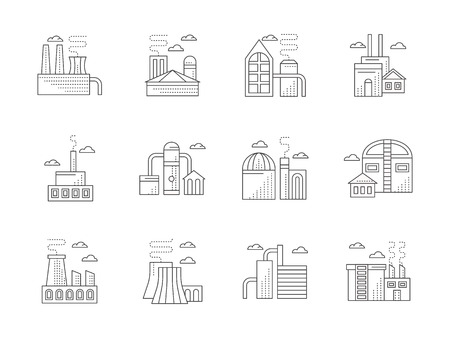 ironworks: Urban industrial architecture and facilities. Power stations, factories and plants, refinery and manufacturing. Flat line style vector icons collection.