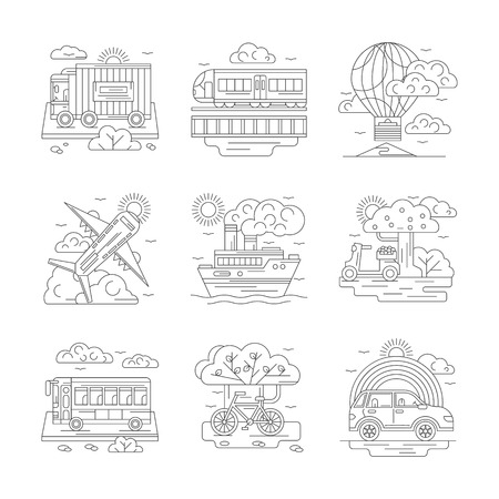 transport icons: Mode of transportation concept. Passenger and cargo transport - train, airplane, steamship and truck, car and bike. Set of detailed flat line vector icons. Web design elements.