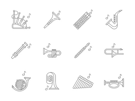 woodwind: Different wind musical instruments. Jazz, orchestra, band symbols. Professional and traditional brass and woodwind instruments. Flat line style vector icons collection.