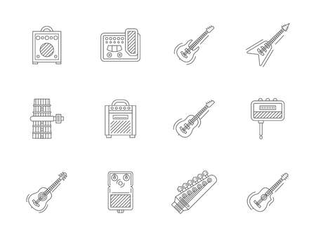 Electric and acoustic guitar parts and hardware. Musical equipment for studio. Flat line style vector icons collection.