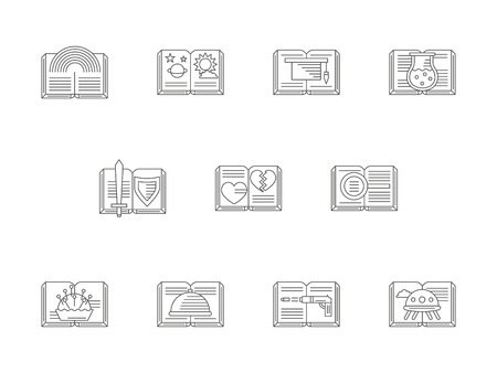 genres: Popular literary genres and styles. Different book categories. Mystery and humor, tutorials and DIY literature and other samples. Flat line style vector icons collection.