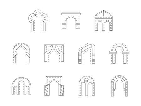 entrance door: Different types of archway structures. Stone architectural arch for exterior design, entrance door, interior elements. Flat line style vector icons collection. Illustration